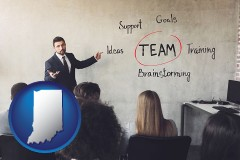 indiana map icon and business education seminar
