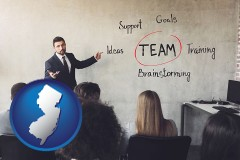 new-jersey map icon and business education seminar